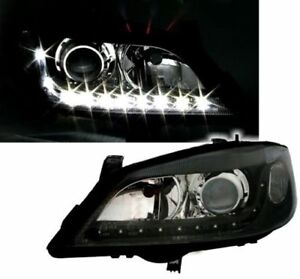 Black Clear Halogen Porojector Daytime Drl Light Headlights For Opel Astra G 98