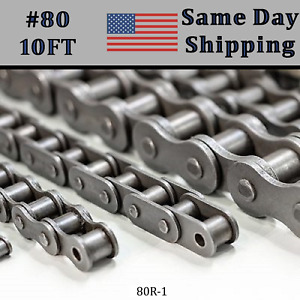 80 Roller Chain 10 Ft Feet Free Connecting Master Link Same Day Shipping