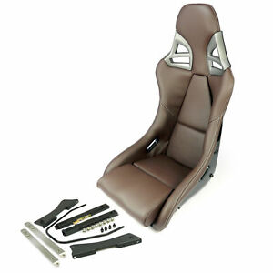 Carbon Fiber Leather Brown Universal Bucket Sports Seat White Stiching W adapter