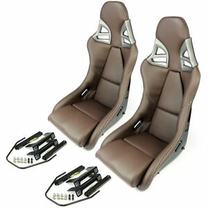 2x Carbon Fiber Brown Leather White Universal Bucket Sport Seats Wtih Adapters