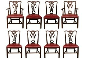 Set Of Eight Vintage Cw Kittinger Mahogany Dining Chairs 49947