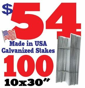 100 h Wire Stakes 30 For Yard Signs Political Fair Garage Sale 9 Gauge