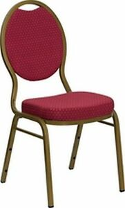 New Banquet Chairs Burgundy Fabric W Gold Frame Lot Of 100 free Shipping