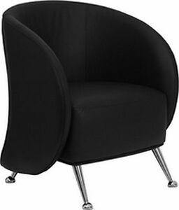 New Black Soft Leather Lounge Reception Contemporary Chair Free Shippng Lot Of 1