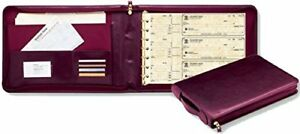 New 3 On A Page Real Leather Zippered Portfolio 7 Ring Check Binder burgundy