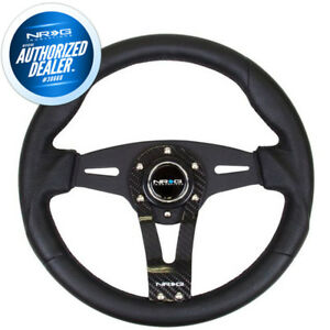 New Nrg Steering Wheel Black Leather W Real Carbon Fiber Face 320mm Rst 002rcf