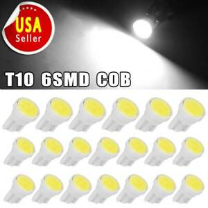 20x White T10 Cob Led Instrument Panel Dash Cluster Bulb Lights W5w 192 194 168