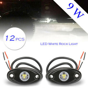 12x 9w Led Rock Light For Jeep Offroad Truck Under Body Trail Rig Bar White Lamp