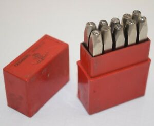 Vintage priority Brand 3 Mm Metal Marking Punches Numbers 0 9 Made In England