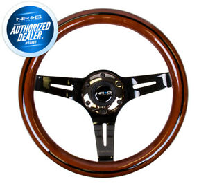 Nrg Steering Wheel Dark Wood Grain 310mm 3 Spoke Blackchrome Center St 310brb bk