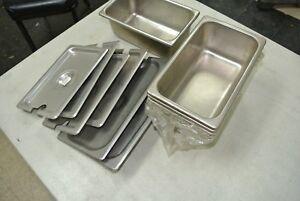 6 Pack Stainless Steel Steam Prep Table Pan 6 1 2 X 10 1 2 X 4 Deep Lids New