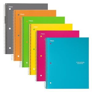 6pk Spiral Notebooks College Ruled Paper Plastic Front Cover 100 Sheet Assorted