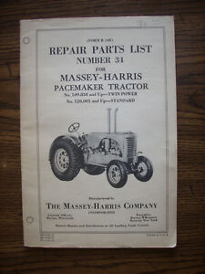 Massey Harris Pacemaker Parts Manual