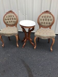 2 Oak Victorian Side Chairs And 1 Marble Top Accent Oak Oval Table