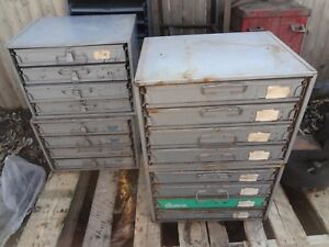 Vintage 3 Piece Metal Storage Tray Cabinet With 16 Slide Rack Drawers