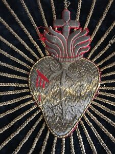 Antique French Metallic Religious Hand Embroidery Sacred Heart Of Jesus