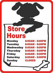 Custom Pet Shop Store Hours Sign Size Options Business Shops Stores Signs