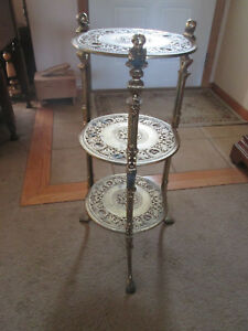Vintage 3 Tier Brass Plant Stand Hollywood Regency