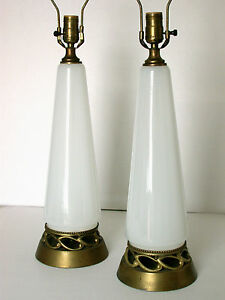 Pair Conical Form Translucent White Glass Gilt Lamps Vintage Hollywood Regency