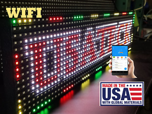 Full Color Wifi 25 x 6 5 Indoor semi outdoor Led Sign Programmable made In Usa