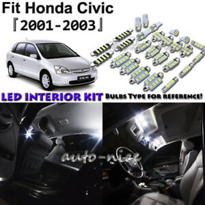 8x White Led Interior Lights Package Kit For 2001 2002 2003 Honda Civic