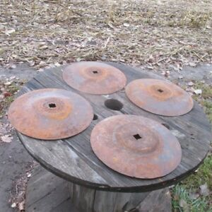 4 Plow Disc Blades Industrial Steampunk Farm International Vintage Cast Iron A25