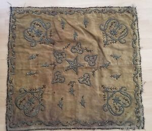 Antique Ottoman Turkish Silver Metallic Hand Embroidery Bohca No Aw