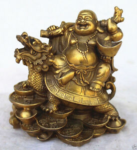 Chinese Copper Wealth Money Happy Laugh Maitreya Buddha On Dragon Turtle Statue
