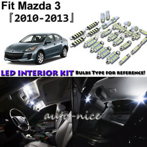 8x White Led Interior Lights Package Kit For 2010 2011 2012 2013 Mazda 3