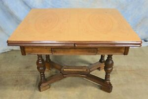 Antique Porcelain Enamel Farm Trestle Table With Intricate Carved Baluster Legs