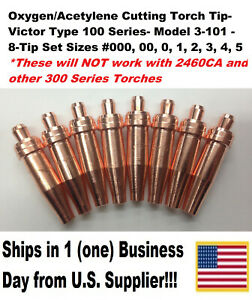 Oxygen acetylene Cutting Torch Tips Victor Type 100 Series 3 101 8 Tip Set
