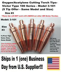 Oxygen acetylene Cutting Torch Tips Victor Type 100 Series 3 101 3 5 Tips