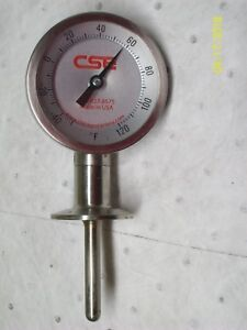 Cse Chicago Stainless Tri clamp Temperature Gauge 50 To 120 F 3 1 4 Dial