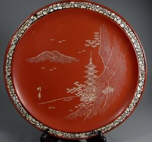Japan Japanese Red Lacquer Mother Of Pearl Ryukyuan Lacquerware Plate 20th C