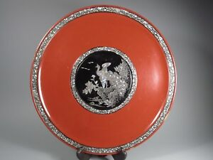 Japan Japanese Red Lacquer Mother Pearl Ryukyuan Lacquerware Plate 20th C 2