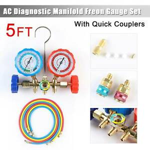4 Way Ac Manifold Gauge Set Air Conditioner R410a R22 R134a Hoses Coupler