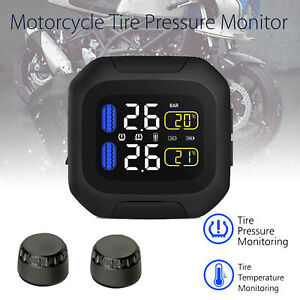 New Motorcycle Tpms Tire Pressure Monitor System W 2 External Sensors Waterproof