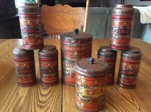 Antique Tin Litho Canister Metal Kitchen Spice Set Coffee Tea Clove Ginger