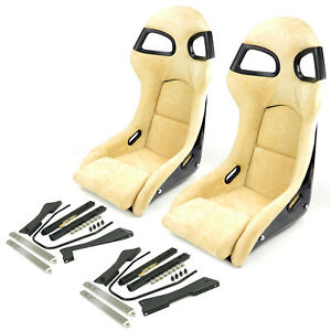 2x Carbon Fiber Sport Bucket Seat In Beige Alcantara With Porsche 996 997 Rail