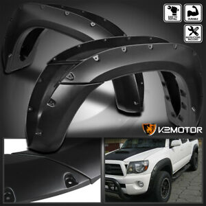 For 2005 2011 Toyota Tacoma 6 Pocket Style Bolt On Rivet Fender Flares Smooth