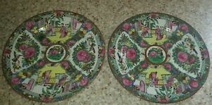 Chinese Rose Medallion Hand Painted Porcelain Plates Set Of 2 10 25