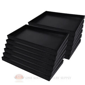 12 Black Plastic Display Sample Tray Jewelry Organizer Travel Stackable Trays