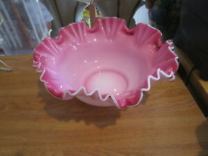 Large Antique Victorian 10 5 Handblown Bride S Basket Pink White