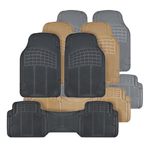 All Weather 3pc Rubber Car Floor Mats And Row Liner Trimmable Front
