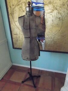 Antique 1920 s Mannequin Dress Form Wood Body Cast Iron Stand Shabby Chic