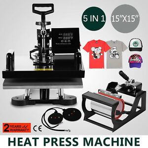 15 x15 5in1 Combo T shirt Heat Press Transfer Sublimation Clamshell Swing Away