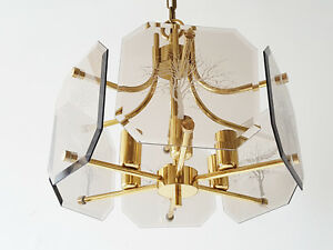 Ceiling Light Chandelier Luigi Colani Glass Brass Golden 70 Vintage Space Age