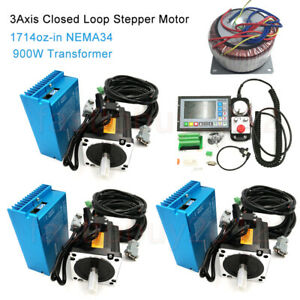 12nm 3axis Nema34 Motor Closed Loop Stepper Drive Kit transformer cnc Controller