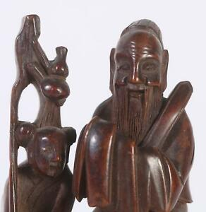 Fine China Chinese Carved Wood Figural Group Scholar On Ox W Boy Ca 1900