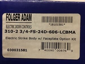 Folger Adam 310 2 3 4 fs 24d 606 lcbma Electric Strike Body And Faceplate Option